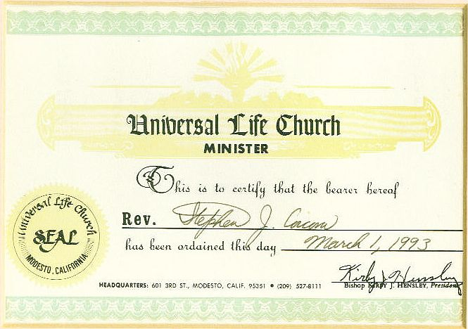 Ministerial Services And Marriage Officiant Citizen Of EarthTM